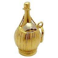 Vintage 18K Gold 3D Chianti Italian Wine Bottle Charm
