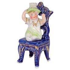 Antique Meissen Baby in Chair German Pre-Crown Top Perfume Bottle
