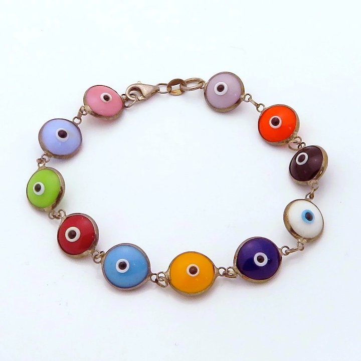 1627fe461 Vintage Sterling Silver Multi-Color Glass Bead Evil Eye Bracelet. Click to  expand