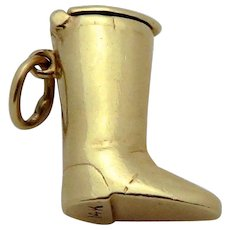Vintage 14K Gold 3D Equestrian Cowboy Boot Charm/Pendant with Compartment