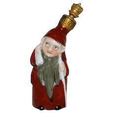 Vintage Bearded Gnome with Sack German Crown Top Perfume Bottle