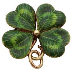 Vintage 14K Gold Sloan & Co. Enameled Lucky Four Leaf Clover Charm Pendant