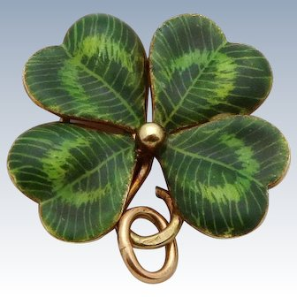 Vintage 14K Gold Sloan & Co. Enameled Lucky Four Leaf Clover Charm Pendant