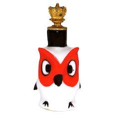 Vintage Orange and Black Owl German Crown Top Perfume Bottle