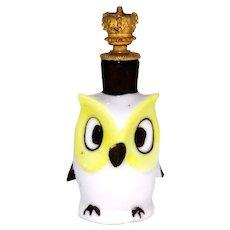 Vintage Yellow & White Owl German Crown Top Perfume Bottle