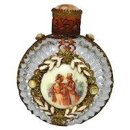 Antique Czech Jeweled Sunburst Glass Perfume Bottle with Victorian Scene
