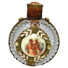 Antique Czech Jeweled Sunburst Glass Perfume Bottle with Victorian Scene