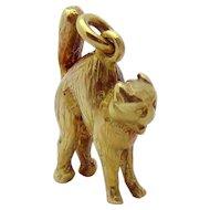 Vintage 14K Gold 3D Frightening Halloween Cat Charm