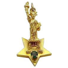 Rare Vintage 14K Gold 3D *Statue of Liberty* Star Ink Stamp Fob Charm