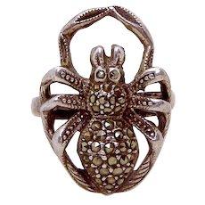 Vintage Sterling Silver Marcasite Creepy Spider Tarantula Ring