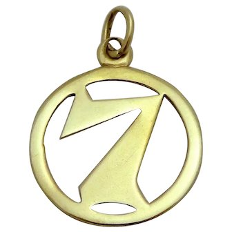 Vintage 8K Gold *Lucky Number 7* Good Luck Charm Pendant