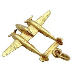 Vintage 14K Gold P-38 Army Fighter Aircraft Warplane Airplane Charm