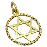 Estate Tiffany & Co. 18K 750 Yellow Gold Star of David Charm