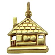 Vintage 14K Gold Art Deco Lover's Cottage with Hearts Charm