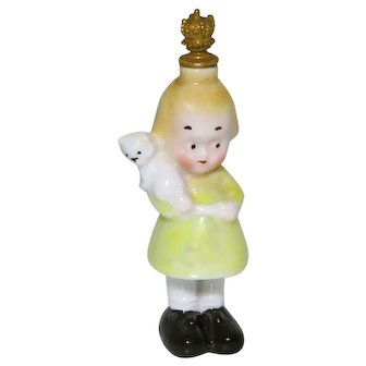 Vintage Little Girl with Kitty German Crown Top Figural Perfume Bottle