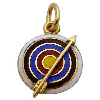 Vintage 14K Gold 3D Enameled Archery Target with Arrow Charm