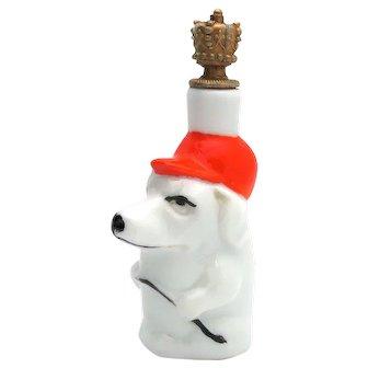 Vintage Art Deco Jockey Dog with Crop Whip German Crown Top Perfume Bottle