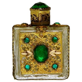 1920s Art Deco Czech Jeweled Green Glass Perfume Bottle
