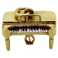 Vintage 14K Gold 3D Sloan & Co. Enameled Upright Piano Charm 1930s