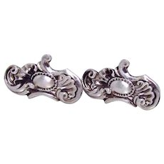 Antique Art Nouveau Era Sterling Silver Cufflinks with Scallop Shell Motifs