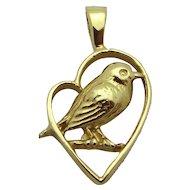 Vintage 14K Yellow Gold *Chickadee in Heart* Songbird Charm Pendant