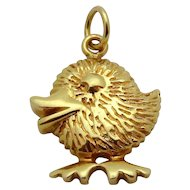 Vintage 14K Yellow Gold Adorable Little Chick Charm Easter Holiday