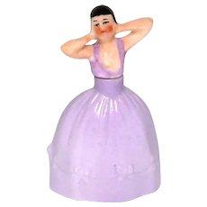 Vintage Art Deco Woman in Lavender Dress German Figural Perfume Bottle