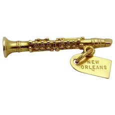 Vintage 14K Gold 3D New Orleans Jazz Clarinet Charm 1940s-1950s