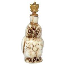 Vintage Snowy Owl German Crown Top Figural Perfume Bottle