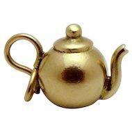 Vintage 10K Gold 3D Teapot Tea Kettle Charm 1940s