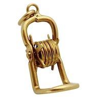Vintage 10K Gold 3D Movable Garden Hose Reel Charm 1940s