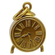 Vintage 10K Gold 3D Alarm Clock Charm 1940s