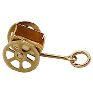 Vintage 10K Gold Movable Flower & Garden Utility Cart Wagon Charm