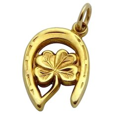 Vintage 14K Gold Lucky Four Leaf Clover in Horseshoe Charm 1940s