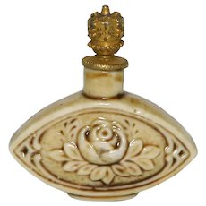 Art Deco Schafer & Vater Rose Flower German Crown Top Perfume Bottle
