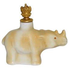Vintage Rhinoceros German Crown Top Figural Perfume Bottle