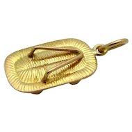 Vintage 14K Gold 3D Japanese Tatami Zori Sandal Charm