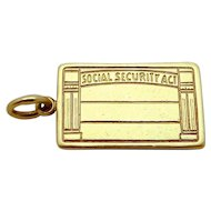 Vintage 14K Gold Social Security Act Card Charm 1930s