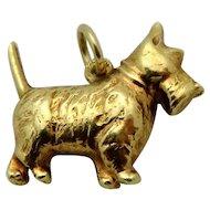 Vintage 14K Gold 3D Sloan & Co. Scottie Dog Charm 1930s