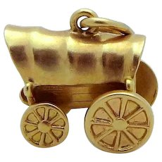 Vintage 14K Gold 3D Movable Western Covered Wagon Charm 1930s