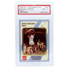 1989 Michael Jordan #15 Gold North Carolina Collegiate Collection PSA MINT 9