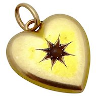 """Antique Victorian 18K Gold """"Dorothy"""" Puffy Heart Charm/Pendant with Seed Pearl"""