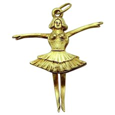 Vintage 14K Gold Sloan & Co. 3D Articulated Ballerina Dancer Charm
