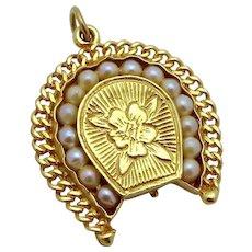 Antique Victorian 14K Gold Carnelian Intaglio Horseshoe w/Pearls Fob Locket Charm