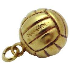 Vintage Art Deco Era 14K Gold 3D Soccer Ball Charm 1920s