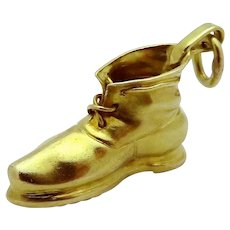 Vintage 14K Gold 3D Carter Gough  & Co. Work Boot Shoe Charm 1920s