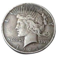 1924-P Peace Silver Dollar US Coin 90% Silver