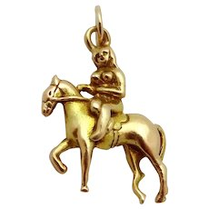 Vintage 9ct. Gold 3D Nude Girl on Horse Equestrian Charm Birmingham 1950s