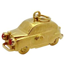 Vintage 18K Gold 3D Movable Bentley S1 Continental Luxury Car Charm