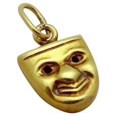 Vintage 14K Gold Art Deco Era 3D Theater Mask Charm